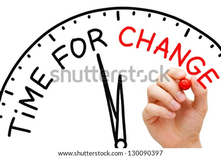 Hand writing Time for Change concept with red marker on transparent wipe board. - stock photo