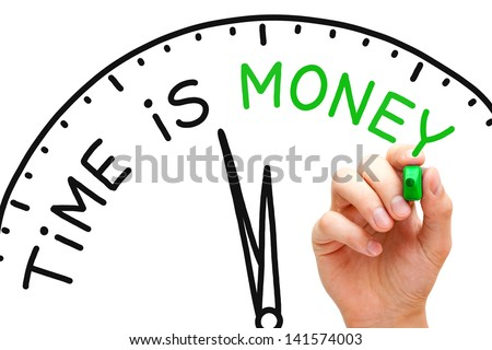 Hand writing Time is Money concept with green marker on transparent wipe board. - stock photo