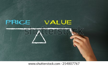 Hand writing to Blackboard Price or Value Choice - stock photo