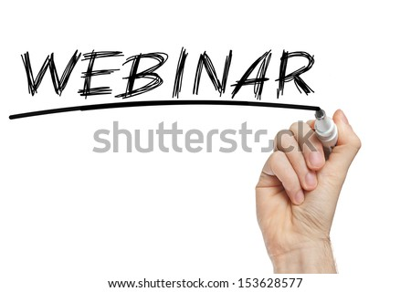 Hand writing Webinar with black marker on transparent wipe board - stock photo