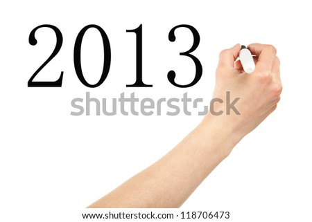 Hand writing with marker 2013 - stock photo