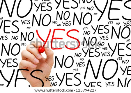 Hand writing Yes with red marker on transparent wipe board. - stock photo