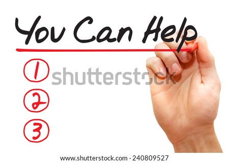 Hand writing You Can Help List with red marker, business concept  - stock photo