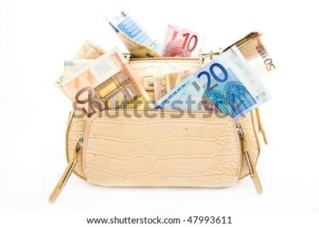 handbag bag money - stock photo