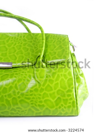 handbag close-up, green leather. theme: fashion, glamour, elegance, shopping - stock photo