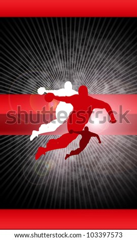 Handball shot background with space (poster, web, leaflet, magazine) - stock photo