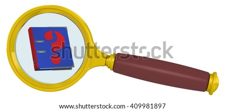 Handbook into a magnifying glass. Blue guide with the symbol question mark in a magnifying glass. Isolated. 3D Illustration - stock photo