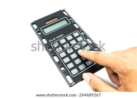 handcounting on Calculator on a White Background - stock photo