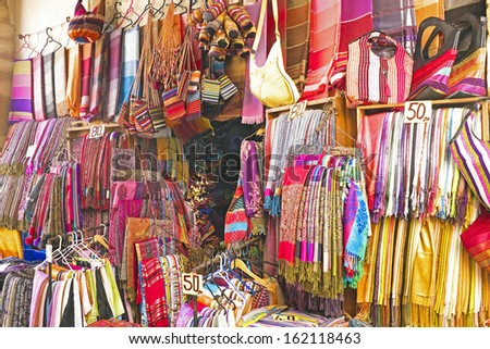 Handcrafts shop at the market in Morocco - stock photo