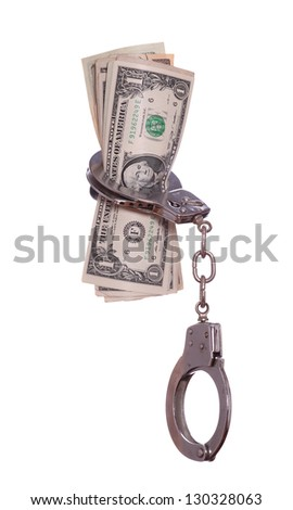 handcuff with dollar notes - stock photo