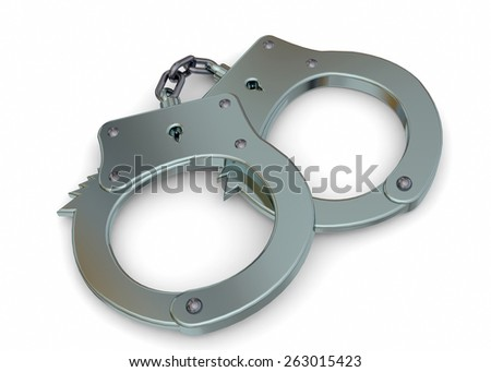 Handcuffs 3d on white background - stock photo