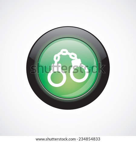 handcuffs glass sign icon green shiny button. ui website button   - stock photo