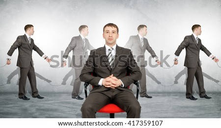 Handcuffs, white collar crime, arrest. Business boss on chair - stock photo