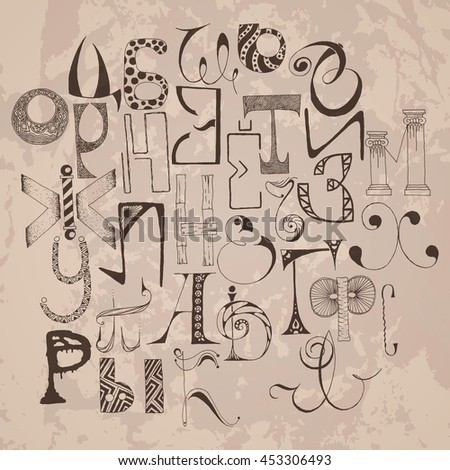 Handdrawn russian doodle alphabet. Random letters. Raster Background. - stock photo