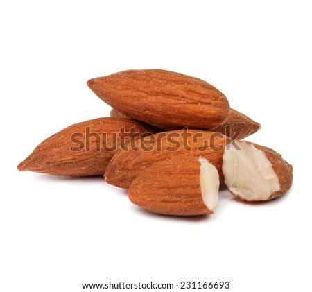handful of almonds isolated on white background - stock photo