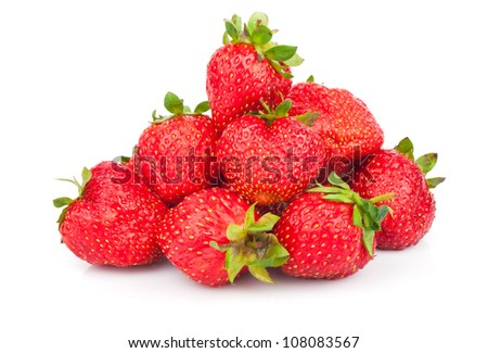 Handful of fresh red strawberries isolated on white background - stock photo