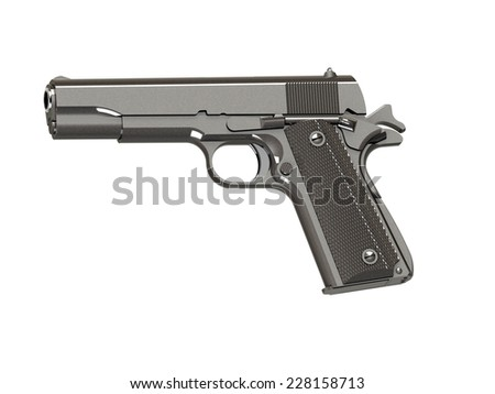 handgun, gun, weapon isolated on white background. 3D render - stock photo