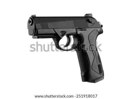 Handgun isolated on white background - stock photo