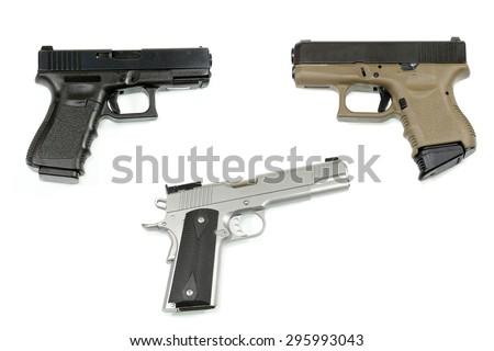 handgun on white background - stock photo