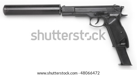 handgun with the long magazine and silencer isolated on white - stock photo
