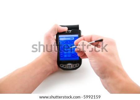 Handhedl computer in hands, isolated white - stock photo