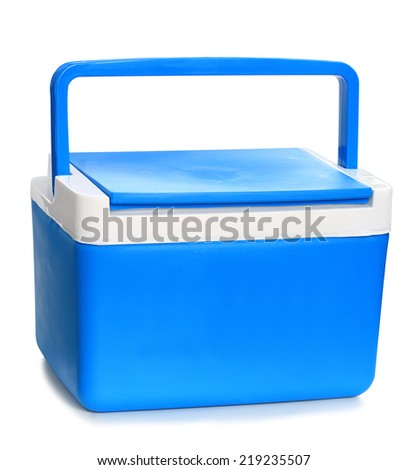 Handheld blue refrigerator isolated over white background.  - stock photo