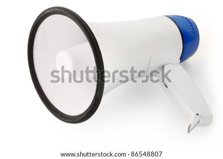 Handheld megaphone on white background, as used in public speaking. - stock photo
