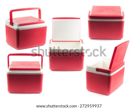 Handheld red refrigerator - stock photo