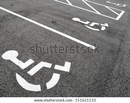 Handicap parking spots - stock photo