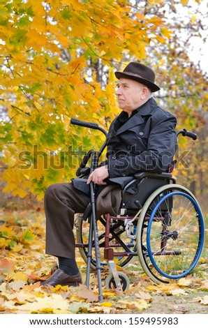 Handicapped senior man enjoying the autumn sun sitting in the park in his wheelchair in a park surrounded by colourful yellow leaves in his warm overcoat and hat - stock photo