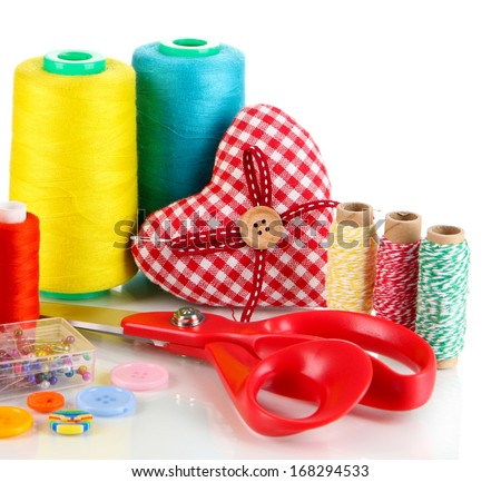 Handicraft supplies isolated on white - stock photo