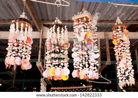 Handicrafts produced by the shell wall at Thailand - stock photo