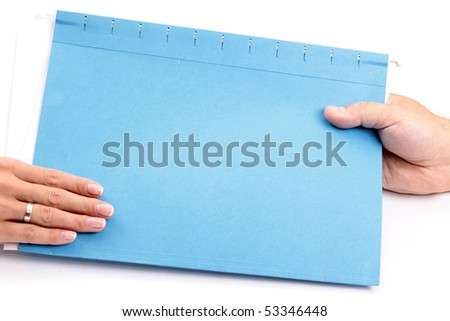 Handing File Folder - stock photo