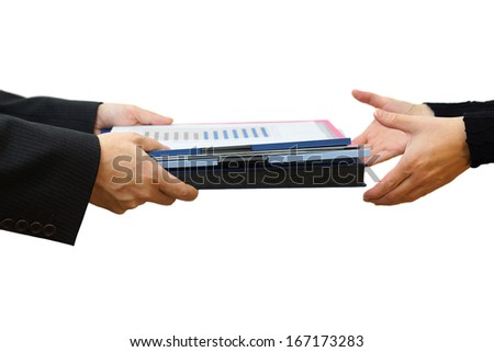 Handing File Folder ,teamwork concept - stock photo