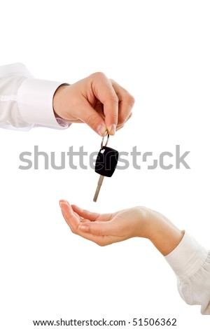 Handing over the key to new owner - isolated - stock photo