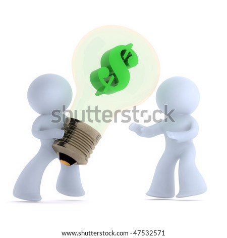 Handing over the money making idea - stock photo