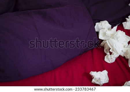 handkerchiefs in bed - stock photo