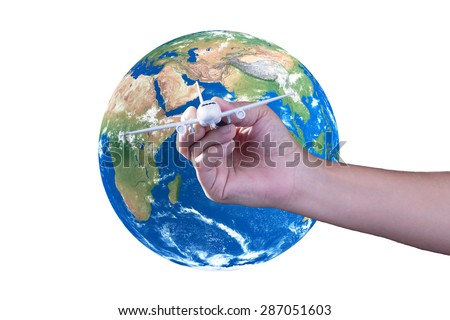 Handle model airplanes, The concept,Travel around the world, Elements of this image furnished by NASA - stock photo