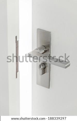 Handle steel knob on the door - stock photo