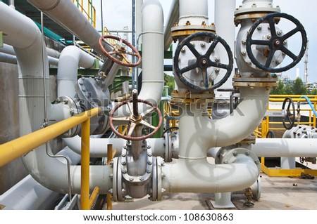 Handle valve with steel pipe - stock photo