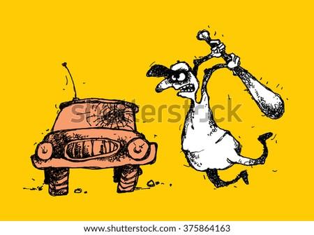 Handmade cartoon illustration of a bully and car. - stock photo