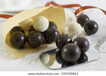 Handmade chocolate and coconut candies  - stock photo