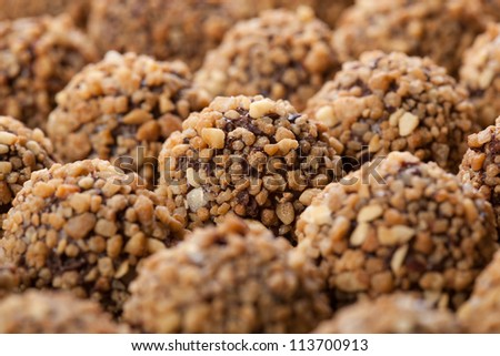 handmade chocolates ball bar selection - stock photo