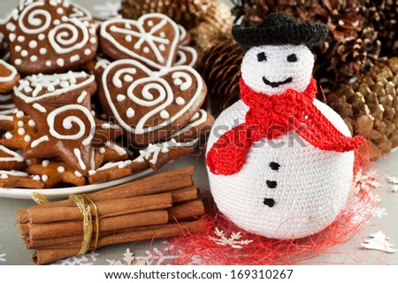 Handmade Christmas Crochet Fat Snowman - stock photo