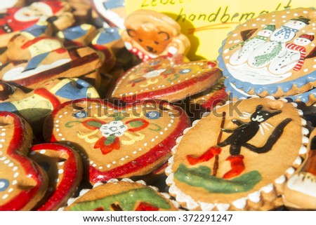 Handmade Christmas decorations. Salted biscuits painted colors.  - stock photo