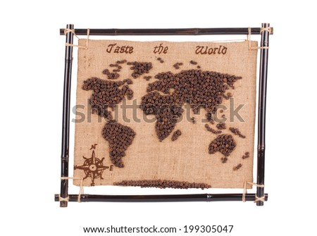Handmade coffee map. Isolated on a white background. - stock photo