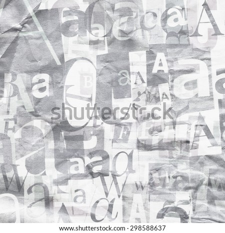 Handmade collage of newspaper and magazine clippings in black and white - stock photo