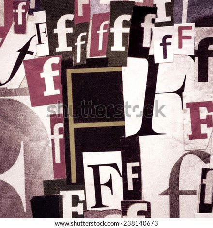 Handmade collage of newspaper and magazine clippings with letter F - stock photo