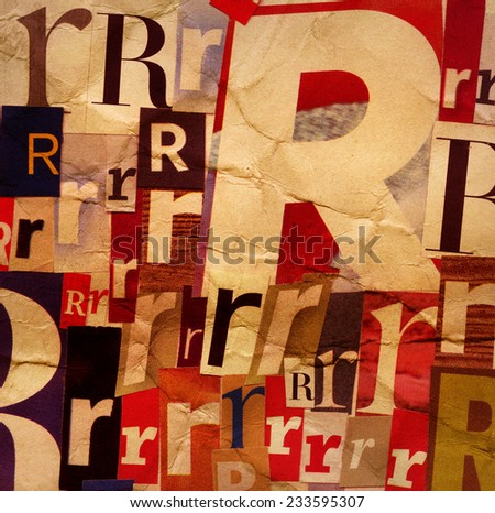 Handmade collage of newspaper and magazine clippings with letter R on old creased paper background   - stock photo