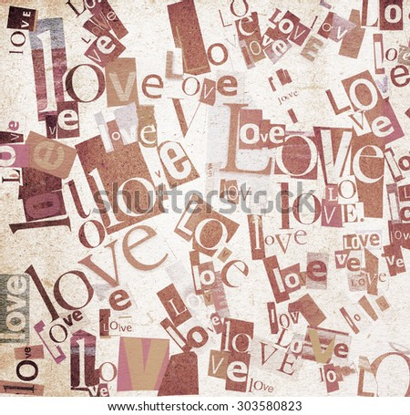 Handmade collage of newspaper and magazine paper clippings saying 'Love' on paper background - stock photo